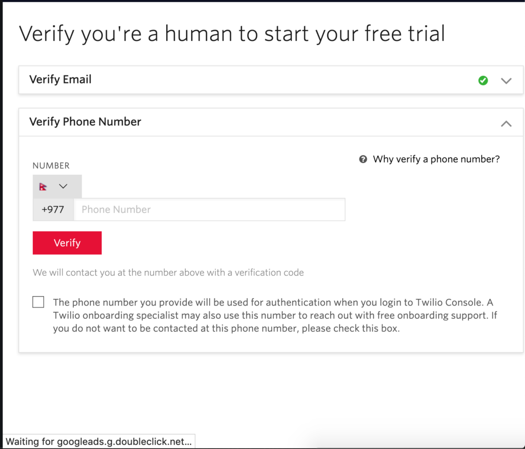Free phone number for verification
