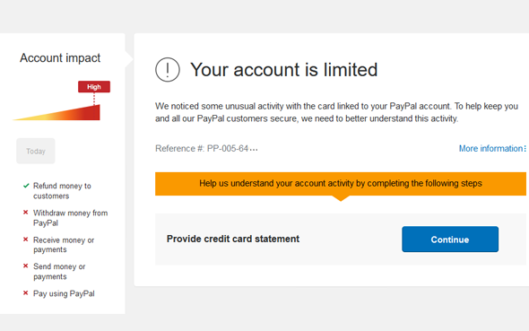Why Paypal Account gets limited