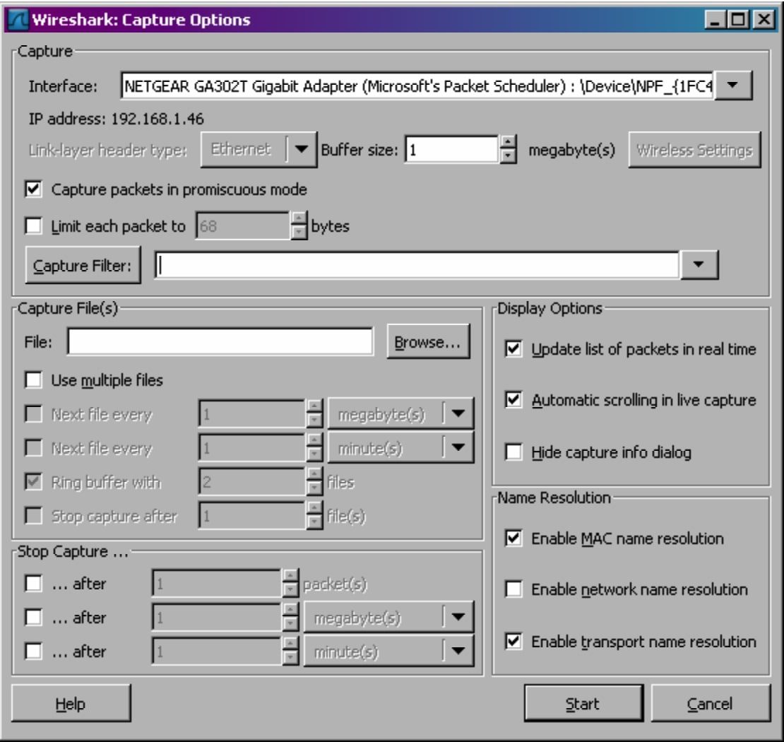 Wireshark tutorial - Wireshark Capture Options Window