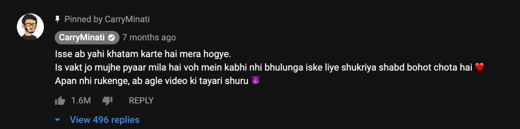 CaryMinati - Most liked youtube comment