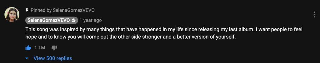SelenaGomezVEVO - Most liked youtube comment