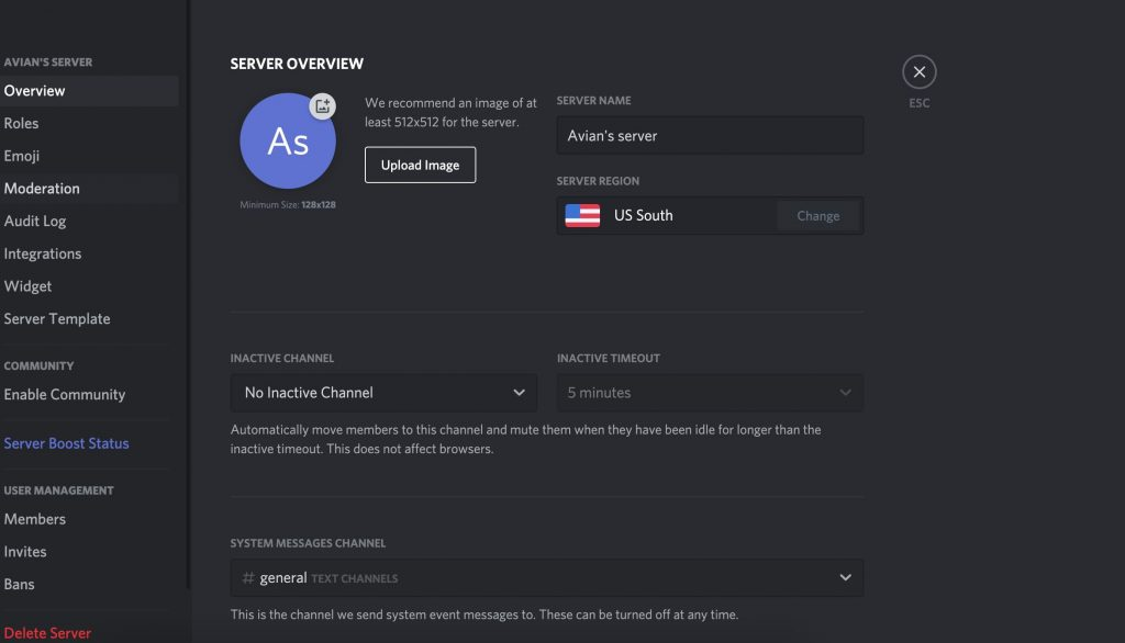 Discord awaiting endpoint- Server Setting