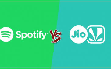 What are the the main difference between Spotify and JioSaavn